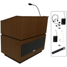 Coventry Wireless 150 Watt Sound Multimedia Lectern - Walnut Finish - 30