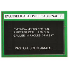 Single Sided Illuminated Community Board with Header and Forest Green Powder Coat Finish - 42