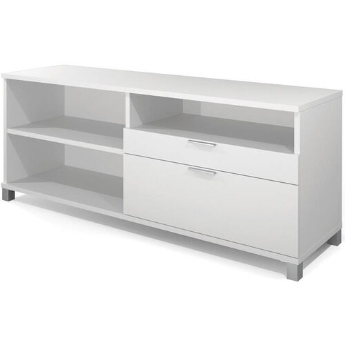 Pro-Linea Credenza with Adjustable Shelving and Storage Drawers - White