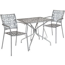 "Agostina Series 31.5"" Square Antique Silver Indoor-Outdoor Steel Patio Table with 2 Stack Chairs"