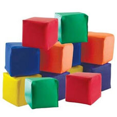 SoftZone® Set of Twelve Colorful Vinyl Covered Foam Patchwork Toddler Blocks