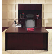 OSP Furniture Kenwood Hardwood Veneer Simple Executive Suite with Curved Metal Drawer Pulls