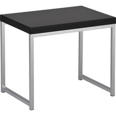 Ave Six Wall Street Wood Veneer End Table with Chrome Finished Steel Base - Black