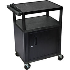 3 Shelf High Open A/V Utility Cart with Locking Cabinet and 3 Outlet Surge - Black - 24