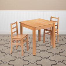 Kids Natural Solid Wood Table and Chair Set for Classroom, Playroom, Kitchen