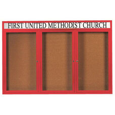 3 Door Indoor Illuminated Enclosed Bulletin Board with Header and Red Powder Coated Aluminum Frame - 48