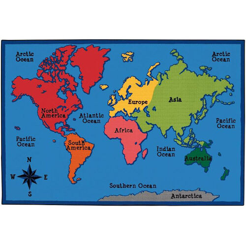 Our Kids Value World Map Rectangular Nylon Rug - 72