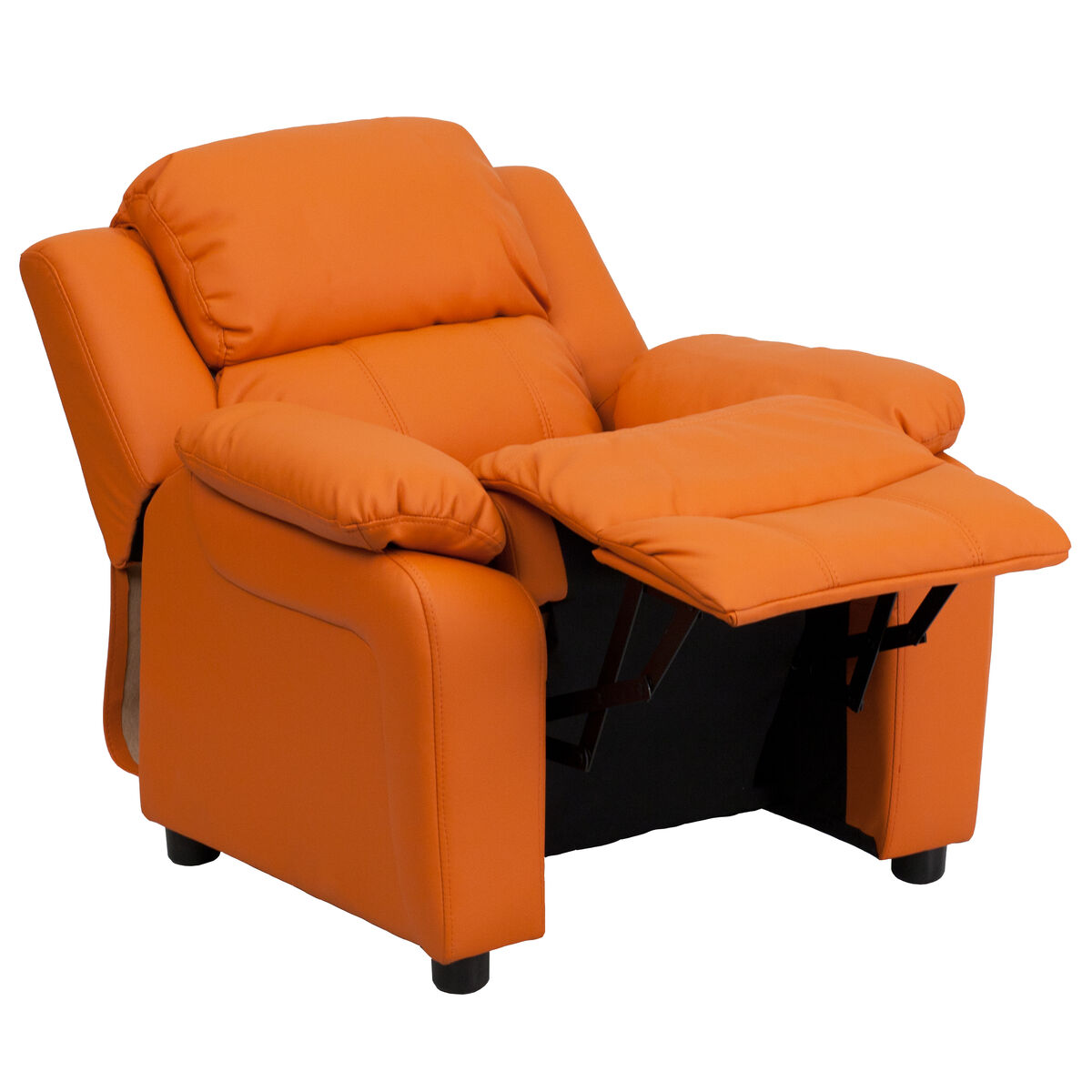 Deluxe Padded Contemporary Orange Vinyl Kids Recliner With