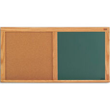 Cork and Chalkboard Combination Board with Wood Trim - 33.5