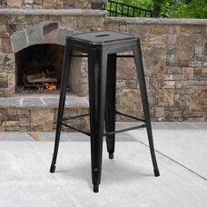 "Commercial Grade 30"" High Backless Distressed Black Metal Indoor-Outdoor Barstool"