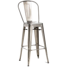 Oscar Steel Armless Barstool - Brushed Gun Metal