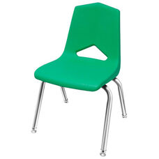 MG Series V-Back Steel Frame Stack Chair with 16''H Seat - Green Seat and Chrome Frame - 17.3''W x 17.5''D x 28''H