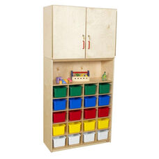 Vertical Healthy Kids Plywood Tray Storage Cabinet with 20 Assorted Trays and Tuff-Gloss UV Finish - 36