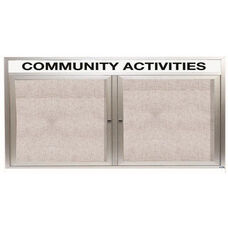 2 Door Outdoor Enclosed Bulletin Board with Header and Aluminum Frame - 36