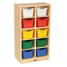 Birch 10 Cubby Tray Cabinet with 10 Assorted Colors Bins - 19.5