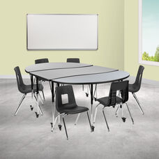 """Mobile 86"""" Oval Wave Collaborative Laminate Activity Table Set with 16"""" Student Stack Chairs, Grey/Black"""