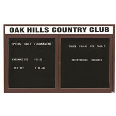 2 Door Indoor Enclosed Directory Board with Header and Bronze Anodized Aluminum Frame - 36