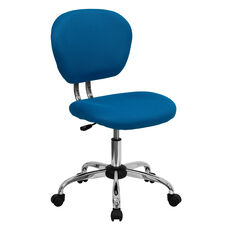 Mid-Back Turquoise Mesh Swivel Task Chair with Chrome Base