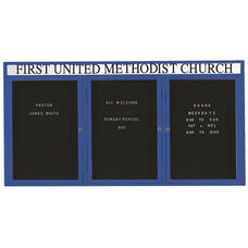 3 Door Outdoor Illuminated Enclosed Directory Board with Header and Blue Anodized Aluminum Frame - 36