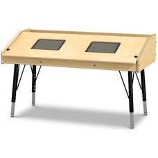 Adjustable Height Dual Tablet Ergonomic Wooden Table - 42
