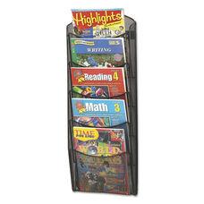 Safco® Onyx Mesh Literature Rack - Five Compartments - 10-1/4w x 3-1/2d x 28-1/3h - Black