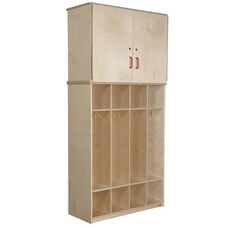 Healthy Kids Plywood Coat Locker Vertical Storage Cabinet with Open and Closed Storage Unit - 36
