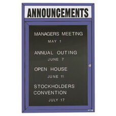 1 Door Outdoor Illuminated Enclosed Directory Board with Header and Blue Anodized Aluminum Frame - 24