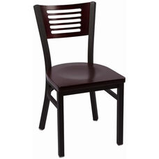 Jones River Series Wood Back Armless Chair with Steel Frame and Wood Seat - Mahogany