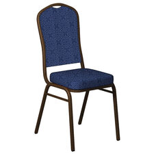 Crown Back Banquet Chair in Faith Blue Fabric - Gold Vein Frame