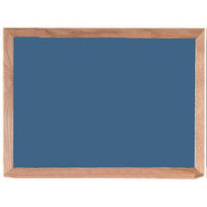 Blue Porcelain on Steel Chalkboard with Red Oak Frame