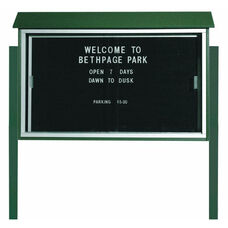Green Sliding Door Plastic Lumber Message Center with Letter Board and Post