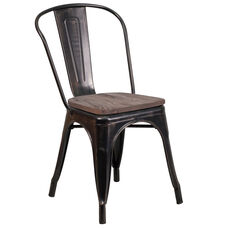 Black-Antique Gold Metal Stackable Chair with Wood Seat