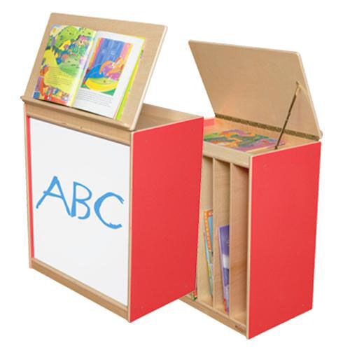 ... Our Strawberry Red Big Book Display And Storage With Locking Piano  Hinged Top With Marker Board
