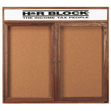 2 Door Enclosed Bulletin Board with Header and Walnut Finish - 48