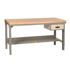 Adjustable Height Steel Workbench with Butcher Block Top and Storage Drawer