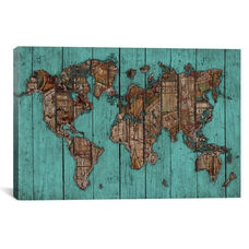 Wood Map #2 by Diego Tirigall Gallery Wrapped Canvas Artwork