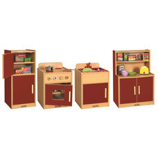 Colorful Essentials 4 Piece Full Preschool Kitchen Play Station Set - Red