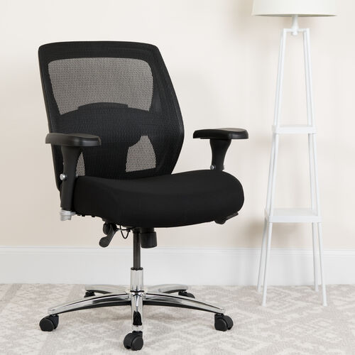 Our HERCULES Series 24/7 Intensive Use Big & Tall 500 lb. Rated Black Mesh Executive Ergonomic Office Chair with Ratchet Back is on sale now.
