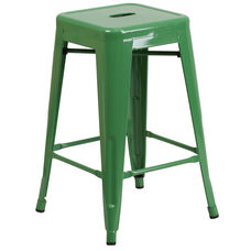 """Commercial Grade 24"""" High Backless Green Metal Indoor-Outdoor Counter Height Stool with Square Seat"""