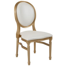 HERCULES Series 900 lb. Capacity King Louis Chair with White Vinyl Back and Seat and Gold Frame