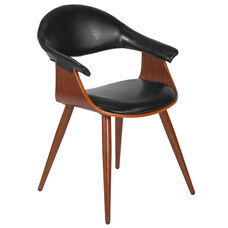 Contemporary Walnut Bentwood Side Reception Chair with Black Leather Back and Seat