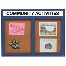 2 Door Indoor Enclosed Bulletin Board with Header and Blue Powder Coated Aluminum Frame - 48