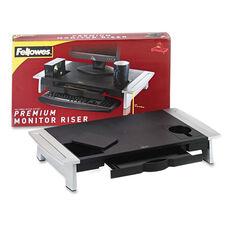Fellowes® Office Suites Premium Monitor Riser - 27 x 14 x 4 1/4 - Black/Silver