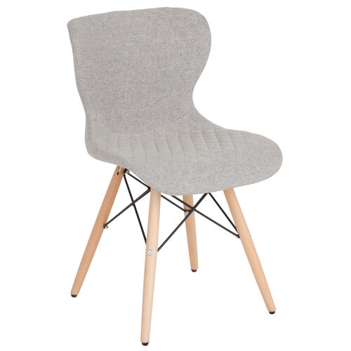 Our Riverside Contemporary Upholstered Chair with Wooden Legs in Light Gray Fabric is on sale now.