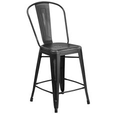 "Commercial Grade 24"" High Distressed Black Metal Indoor-Outdoor Counter Height Stool with Back"