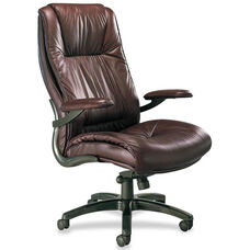 Mayline Group Ultimo High-Back Executive Chair with Padded Arms - Burgundy Leather