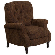Traditional Tobacco Fabric Tufted Hi-Leg Recliner