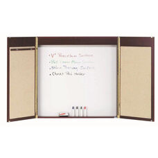 Cherry Laminate Conference Cabinet with White Porcelain Marker Board Back Panel and Pull Down Projection Screen - 48