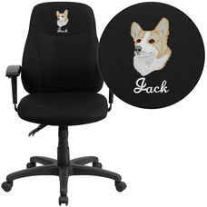 Embroidered Mid-Back Black Fabric Multifunction Swivel Ergonomic Task Office Chair with Adjustable Arms