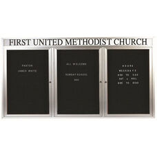 3 Door Outdoor Enclosed Directory Board with Header and Aluminum Frame - 48
